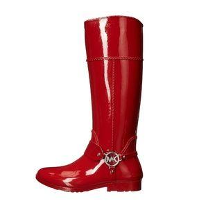 Michael Kors Red Tall Rain Boot